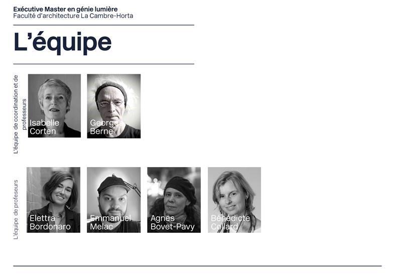 équipe formation conception lumière Bruxelles